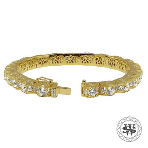 World Shine Bracelet Premium 925 Sterling Silver Yellow Gold Finish 1 Row 3D Diamond Bracelet
