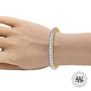 World Shine Bracelet Premium 925 Sterling Silver Yellow Gold Finish 3 Row Tennis Bracelet 7.5mm