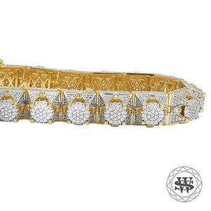 World Shine Bracelet Premium 925 Sterling Silver Yellow Gold Finish 3D WS Diamond Bracelet 13mm