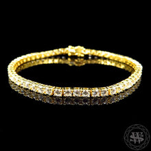 World Shine Bracelet Premium 925 Sterling Silver Yellow Gold Finish Simulated Diamond High Clarity Single Row Bracelet 3.3 mm