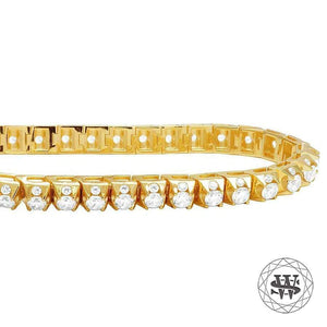 World Shine Bracelet Premium 925 Sterling Silver Yellow Gold Finish Simulated Diamond Tennis Bracelet 8mm