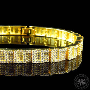 World Shine Bracelet Premium 925 Sterling Silver Yellow Gold Plated Simulated Diamond World G Style Bracelet 6mm