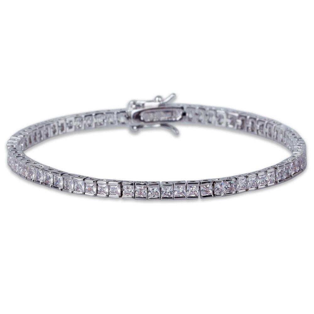 World Shine Bracelet Silver / 7 inch / 4 mm Iced Out 1 Row Square Bracelet Silver : 4 - 6 mm