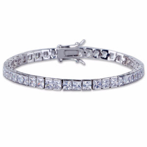 hip hop jewelry World Shine Bracelet Silver / 7 inch / 6 mm Iced Out 1 Row Square Bracelet Silver : 4 - 6 mm