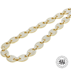 "World Shine Chain 10 mm / 24"" / 60.96 cm Premium 925 Sterling Silver Yellow Gold Finish Anchor Puffed Chain 10/12 mm"