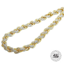 "World Shine Chain 11 mm / 30"" / 76.2 cm Classic High Quality Yellow Gold Finish Simulated Diamond Solid Rope Chain 11mm"