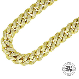 "World Shine Chain 12 mm / 30"" / 76.2 cm Premium 925 Sterling Silver Yellow Gold Miami Cuban Link Chain Necklace 12/14/16/18 mm"
