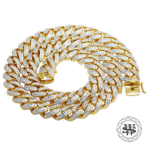 "World Shine Chain 18 mm / 30"" / 76.20 cm Classic High Quality Brass Yellow Gold Finish Simulated Diamond Miami Cuban Chain 18mm"