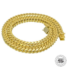 "World Shine Chain 18K Yellow Gold / 12 mm / 16"" / 40.64 cm Premium 925 S.S 18k Yellow or White Gold Plated Solid Miami Cuban Chain 7.5/9/10.5/12mm 16"" to 30"""