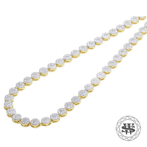 "World Shine Chain 20"" / 20.80 cm Premium 925 Sterling Silver Yellow Gold Finish Silver Round Cluster Chain 5mm"