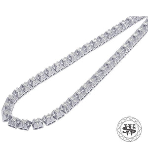 "World Shine Chain 20"" / 50.80 cm Premium 925 Sterling Silver White Gold Finish 4 Prong Solitaire Diamond Chain 6mm"