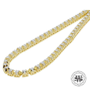 "World Shine Chain 20"" / 50.80 cm Premium 925 Sterling Silver Yellow Gold Finish 4 Prong Solitaire Diamond Chain 6mm"