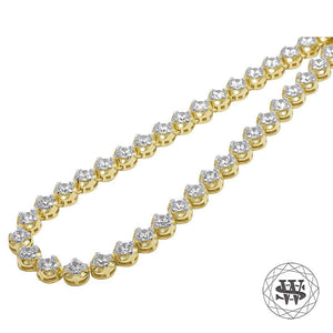 "World Shine Chain 20"" / 50.80 cm Premium 925 Sterling Silver Yellow Gold Finish Round 4 Prong Chain 6mm"