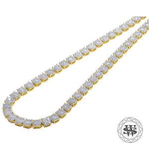 "World Shine Chain 20"" / 50.80 cm Premium 925 Sterling Silver Yellow Gold Finish Round Cluster Tennis Chain 5mm"