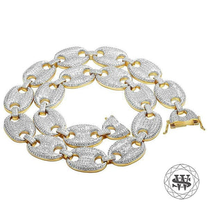 "World Shine Chain 25 mm / 26"" / 66.04 cm Classic High Quality Brass Yellow Gold Finish Anchor Puffed Simulated Diamond Chain 25mm"