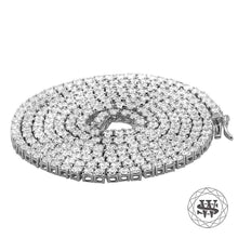 "World Shine Chain 3 mm / 18"" / 45.72 cm Premium 925 Sterling Silver White Gold Finish All Tennis Chain 3mm 4mm 5mm 6mm 7mm"
