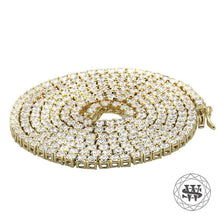 "World Shine Chain 3 mm / 18"" / 45.72 cm Premium 925 Sterling Silver Yellow Gold Finish All Tennis Chain 3mm 4mm 5mm 6mm 7mm"