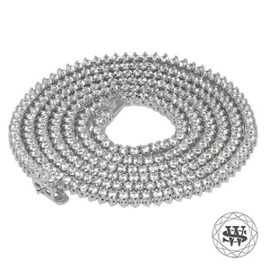 "World Shine Chain 3 mm / 32"" / 81.28 cm Premium 925 Sterling Silver 18K White Gold Finish 3 Prong Tennis Chain 3mm 4mm 5mm"
