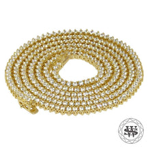 "World Shine Chain 3 mm / 32"" / 81.28 cm Premium 925 Sterling Silver 18K Yellow Gold Finish 3 Prong Tennis Chain 3mm 4mm 5mm"