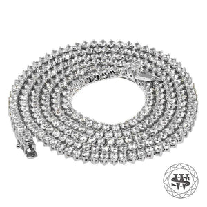 "World Shine Chain 4 mm / 32"" / 81.28 cm Premium 925 Sterling Silver 18K White Gold Finish 3 Prong Tennis Chain 3mm 4mm 5mm"