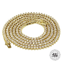 "World Shine Chain 4 mm / 32"" / 81.28 cm Premium 925 Sterling Silver 18K Yellow Gold Finish 3 Prong Tennis Chain 3mm 4mm 5mm"