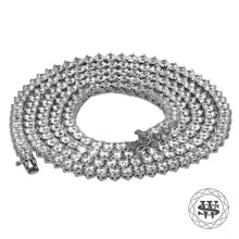 "World Shine Chain 5 mm / 32"" / 81.28 cm Premium 925 Sterling Silver 18K White Gold Finish 3 Prong Tennis Chain 3mm 4mm 5mm"
