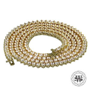 "World Shine Chain 5 mm / 32"" / 81.28 cm Premium 925 Sterling Silver 18K Yellow Gold Finish 3 Prong Tennis Chain 3mm 4mm 5mm"
