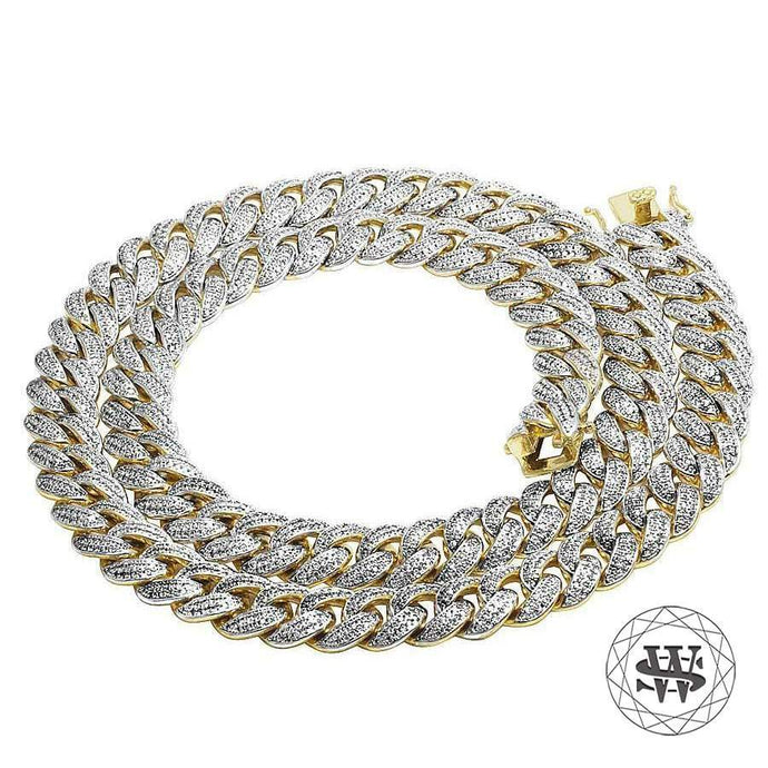 World Shine Chain Classic High Quality Brass Yellow Gold Finish Simulated Diamond Miami Cuban Chain 15mm