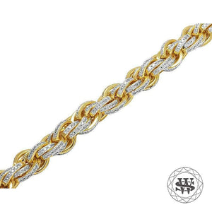 World Shine Chain Classic High Quality Yellow Gold Finish Simulated Diamond Solid Rope Chain 11mm