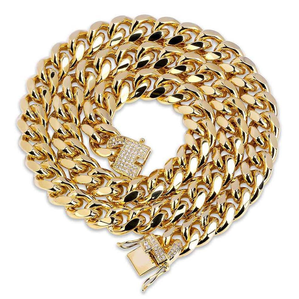 World Shine Chain Gold / 18 inch Iced Out Cuban Chain Gold 12mm