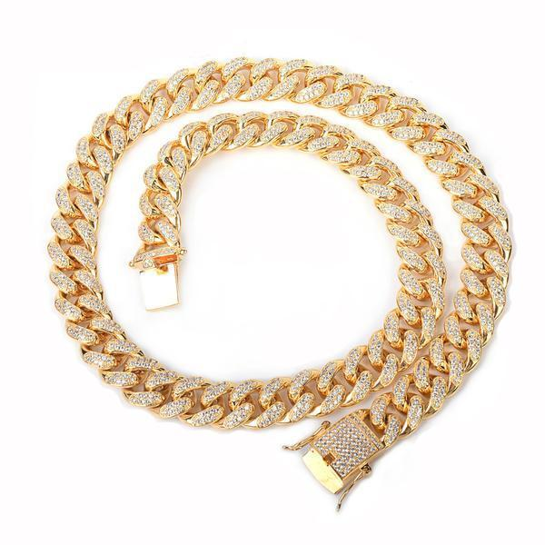 World Shine Chain Gold / 18 inch Iced Out Cuban Chain Gold / Diamond 12mm