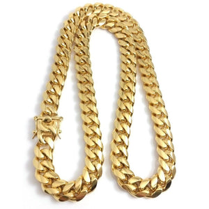 World Shine Chain Gold / 20 inch ( 50.8 cm ) Iced Out The Classic Gold Cuban Chain 14mm