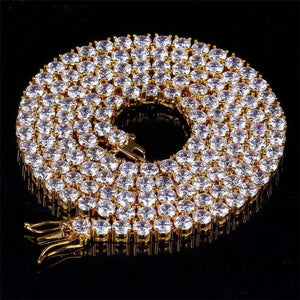 World Shine Chain Gold / 3 mm / 18 inch Iced Out 1 Row Tennis Chain Gold : 3 - 4 - 5 - 6 mm