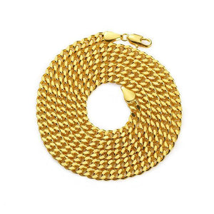 World Shine Chain Gold / 5mm x 70cm Iced Out Miami Cuban Link Chain Gold 3-5mm
