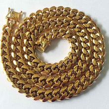 World Shine Chain Gold / 8mm / 75cm Iced Out The Classic Gold Cuban Chain 8/10/12/14mm