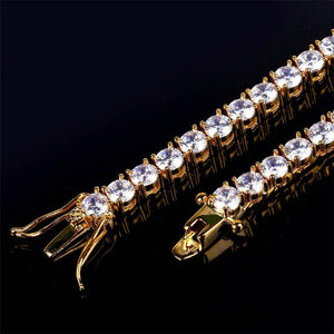 World Shine Chain Iced Out 1 Row Tennis Chain Gold : 3 - 4 - 5 - 6 mm