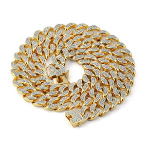 World Shine Chain Iced Out Premium Cuban Chain Gold / Diamond 13 mm