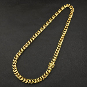 World Shine Chain Iced Out The Classic Gold Cuban Chain 8/10/12/14mm