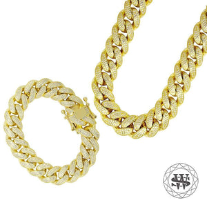 "World Shine Chain Length: 30"" (76.2cm) / Width: 16mm / Length: 8"" (20.32cm) / Width: 16mm Premium 925 Sterling Silver Yellow Gold Diamond Miami Cuban Chain Necklace + Bracelet"