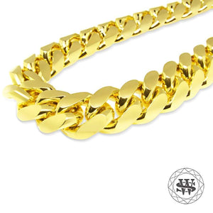 World Shine Chain Premium 925 Sterling Silver 14k Yellow Gold Finish Ultime Miami Cuban Chain 14mm