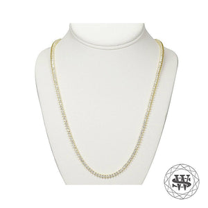 World Shine Chain Premium 925 Sterling Silver 18K Yellow Gold Finish 3 Prong Tennis Chain 3mm 4mm 5mm