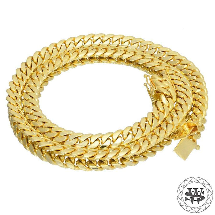 World Shine Chain Premium 925 Sterling Silver 18k Yellow/White Gold Plated Solid Thick Miami Cuban Link Chain 7.5/9/10.5mm 16