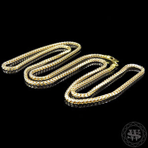 World Shine Chain Premium 925 Sterling Silver Custom 14K Two Tone Yellow Gold Finish Franco Chain Necklace 2.5/3 mm 18 to 40""