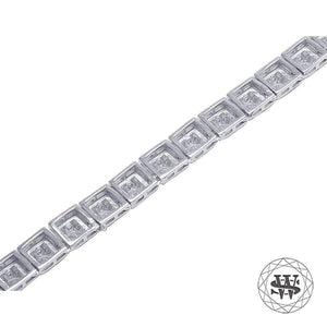 World Shine Chain Premium 925 Sterling Silver White Gold Finish 4 Prong Solitaire Diamond Chain 6mm