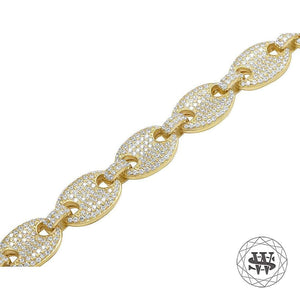 World Shine Chain Premium 925 Sterling Silver Yellow Gold Finish Anchor Puffed Chain 10/12 mm