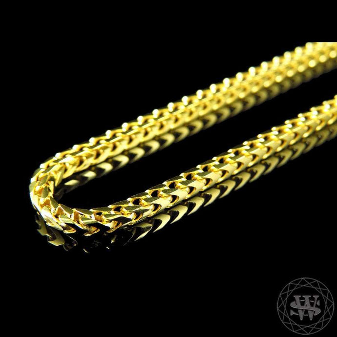 World Shine Chain Premium 925 Sterling Silver Yellow Gold Finish Franco Chain Necklace 2/2.5/3 mm 24 to 36