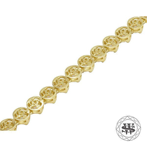 World Shine Chain Premium 925 Sterling Silver Yellow Gold Finish Round 4 Prong Chain 6mm