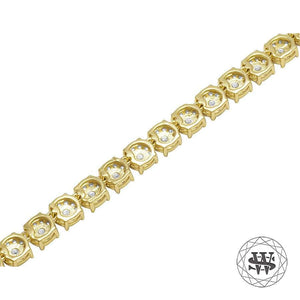 World Shine Chain Premium 925 Sterling Silver Yellow Gold Finish Round Cluster Tennis Chain 5mm