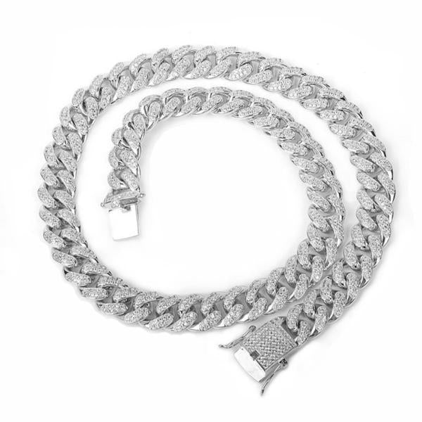 World Shine Chain Silver / 18 inch Iced Out Cuban Chain Silver / Diamond 12mm