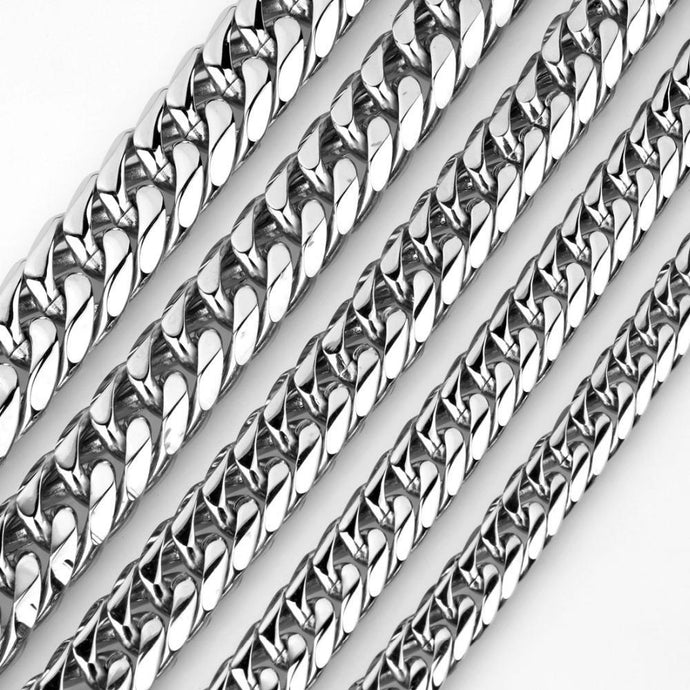 World Shine Chain Silver / 9 mm Iced Out Length Curb Cuban Chain Silver 9/11/13/16/19/21mm